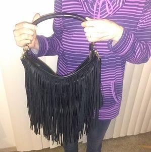 Handbags - Navy Leather Fringe Bag